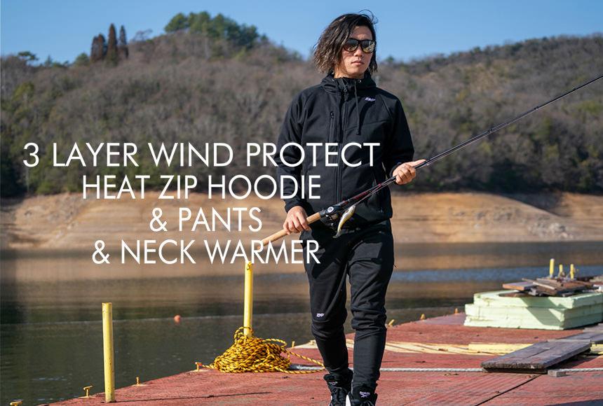 3 LAYER WIND PROTECT HEAT ZIP HOODIE & PANTS & NECK WARMER